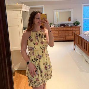 Floral Yellow Mini Dress